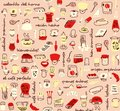 Coffee store elements with people and text in spanish seamless pattern in pink with yellow and red.