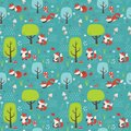Seamless Forest Pattern with Foxes, Trees, Mushrooms, Flowers, Butterflies and Grass Flat Vector Illustration