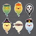 Cartoon Halloween ghosts - kappa river imp, jack o lantern, skeleton, witch, mummy and chinese zombie