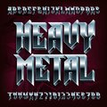 3D Heavy Metal alphabet font. Metal effect letters and numbers. Royalty Free Stock Photo