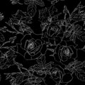 Elegant seamless pattern with hand drawn line black roses flowers. Floral pattern for wedding invitations, greeting cards