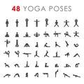 Big yoga poses asanas icons set. Vector illustrations. For logo yoga branding. Yoga people infographics. Stick figures
