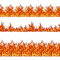 Fire seamless pattern. Set of vector illustrations with bright flame border isolated Royalty Free Stock Photo