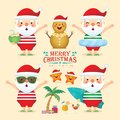 Set of summer christmas - cute santa claus flat design collection Royalty Free Stock Photo
