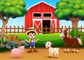 Farm scenes with different animals and farmers in the farmyard Royalty Free Stock Photo