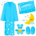 Blue children pajamas and sleep time related objects. Vector illustration Royalty Free Stock Photo