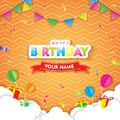 Happy Birthday with Cloud, Flags, and Balloons on Orange background. 3D paper cut sign, greeting, congratulations design Royalty Free Stock Photo