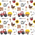Farmer texture with food,sunflowers,chicken,fence,tractor,bee, shovel Royalty Free Stock Photo