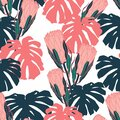 Hand drawn vintage monstera and protea, African native wild flower seamless pattern