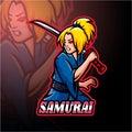 Samurai girl esport logo mascot design