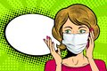Pop art female face in medical mask talk on mobile phone. Female face with speech bubble. Royalty Free Stock Photo