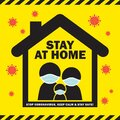 Covid-19 - stop coronavirus quarantine campaign of stay at home flat design