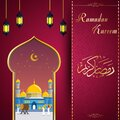 Ramadhan kareem greeting card with mosque