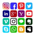 Social media icons, Buttons collection in vector.