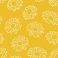Daisy flower outline seamless pattern. Simple vector monochrome illustration of beautiful chamomile.
