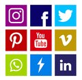 Collection of popular social media icons.