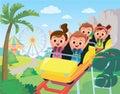 Roller-coaster. Children in amusement park. Children have fun in amusement park. Royalty Free Stock Photo