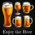 Illustration of beer glass. Mugs and glasses for toast with light beer on black background. Royalty Free Stock Photo