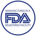 Manufactured in a FDA registered facility icon in round and blue white combination Royalty Free Stock Photo