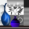 3d mural wallpaper white and black vase with rose flowers on rose  pink blue background . Suitable for use on a wall frame . flowe Royalty Free Stock Photo