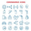 Covid 19 coronavirus, prevention outbreak disease pandemic virus icons set Royalty Free Stock Photo