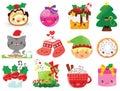 Kawaii Christmas cartoons Royalty Free Stock Photo