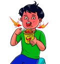 Kid boy eat spicy noodle Royalty Free Stock Photo