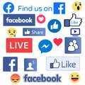 Facebook logos, like thumb and other vectors. Isolated on white background. Royalty Free Stock Photo