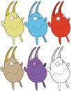 stock image of  Print cartoon rabbit color set doodle hand draw happy funny