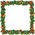 Print christmas garland frame with bells bauble and sugar canes Stock Photography