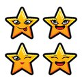 Collection of difference emoticon icon of cute star cartoon on white background flat vector illustration Royalty Free Stock Photo
