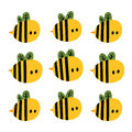 Print with cute cartoon yellow bees