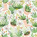 Cute vector seasonal seamless pattern. Growing flowers and plants in the greenhouse. Spring endless garden background.