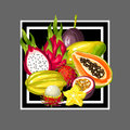 Print with exotic tropical fruits. Illustration of asian plants