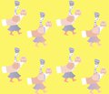 Print for fabric with fairy duck on yellow background. Vector