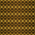 Print gold metallic seamless pattern the gold woven lattice of rings in the medieval style Royalty Free Stock Photo