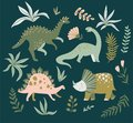 Hand drawn dinosaurs, tropical leaves and flowers. Cute dino design. Vector illustration.