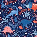 Hand drawn seamless pattern with dinosaurs and tropical leaves and flowers. Perfect for kids fabric, textile, nursery wallpaper.