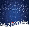 Happy new year and Christmas 2020 Countryside landscape, village, snow town. paper art and craft style. Royalty Free Stock Photo
