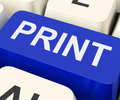 Print key shows printer printing or printout showing Stock Photo
