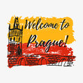 Print with lettering about Prague