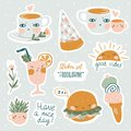 Set of vector cute doodles illustrations with text and graphic design elements. Trendy design for kid stickers.