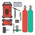 Set of vector illustration gas welding argon machine with regulator tank torch