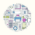 Print shop circle colored Royalty Free Stock Photo