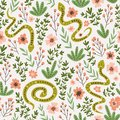 Snakes and flowers. Cute childish fabric design. Vector seamless pattern in hand drawn style. Ethnic background.