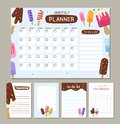 Vector monthly planner with cute ice creams.