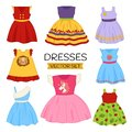 stock image of  Vector set of children`s dresses