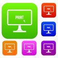 Print word on a computer monitor set collection