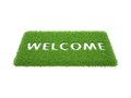 Print words welcome mat green grass Stock Image
