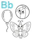 Printable coloring page for kindergarten and preschool. Card for study English. Vector coloring book alphabet. Letter b. Butterfly